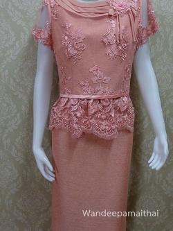 ชุดผ้าไหมญี่ปุ่น แต่งด้วยลูกไม้นอก สีชาอมส้ม เสื้อ+กระโปรงยาว เบอร์ 40