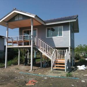 บ้านน็อคดาวน์ : บ้านจั่ว 4x6 เมตร ระเบียง 2x3 เมตร