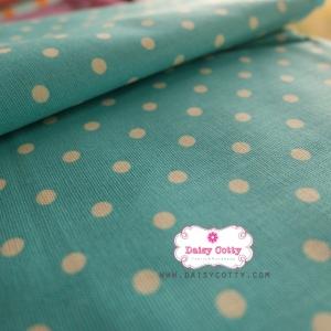 ผ้าคอตตอนลินิน 1/4ม.(50x55ซม.) พื้นสีฟ้า ลายจุดสีขาว