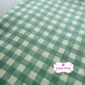 ผ้าคอตตอนลินิน 1/4ม.(50x55ซม.) พื้นสีขาว ลายตารางสีเขียว