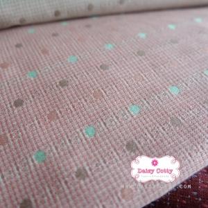 ผ้าทอญี่ปุ่น 1/4ม.(50x55ซม.) ทอสีชมพูอ่อน ลายจุด