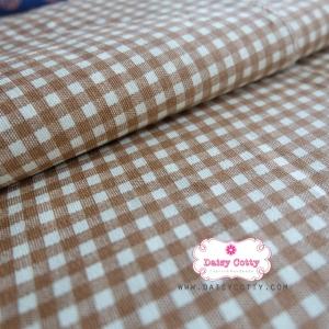 ผ้าคอตตอนลินิน 1/4ม.(50x55ซม.) พื้นสีครีม ลายตารางสีน้ำตาล