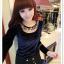 เสื้อแฟชั่นเกาหลีใหม่ ผ้ากำมะหยี่สีมันวาว ตกแต่งคอเสื้อด้วยเพชรสีสันสวยงาม thumbnail 19