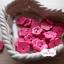 กระดุมลายดอกไม้สีชมพูเข้ม ขนาด 1.5 ซม. จำนวน 12 เม็ด(1โหล) thumbnail 1