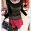 เสื้อแฟชั่นเกาหลีใหม่ ผ้ากำมะหยี่สีมันวาว ตกแต่งคอเสื้อด้วยเพชรสีสันสวยงาม thumbnail 4