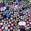 ผ้าคอตตอนไทย 100% 1/4 ม.(50x55ซม.) พื้นสีน้ำเงินกรมท่า ลายสวนดอกไม้ thumbnail 1