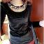 เสื้อแฟชั่นเกาหลีใหม่ ผ้ากำมะหยี่สีมันวาว ตกแต่งคอเสื้อด้วยเพชรสีสันสวยงาม thumbnail 3