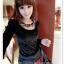 เสื้อแฟชั่นเกาหลีใหม่ ผ้ากำมะหยี่สีมันวาว ตกแต่งคอเสื้อด้วยเพชรสีสันสวยงาม thumbnail 7