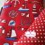 ผ้าคอตตอนลินิน 1/4ม.(50x55ซม.) พื้นสีแดง ลายสมอเรือ thumbnail 1