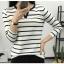 เสื้อยืดแขนยาวแฟชั่น คอวี ลายขวาง เนื้อดีพิมพ์นิยม ใส่ได้ทุกเทศกาล thumbnail 5