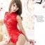 ch014ชุดกี่เพ้า ชุดคอสเพลย์ ชุดกี่เพ้าลูกไม้ สีแดง ผ้านิ่ม พร้อมจีสตริงคะ thumbnail 3