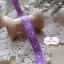 ริบบิ้นผ้า พื้นสีม่วง ลายดอกไม้สีชมพู กว้าง 1ซม. thumbnail 3
