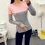 เสื้อยืดแขนยาวแฟชั่น สีทูโทนสุด cool ทรงเข้ารูป กระชับสัดส่วน น่าใส่มากๆ คร่าสาวๆ thumbnail 6
