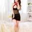 ch019 ชุดกี่เพ้า ชุดสาวจีน สีดำกุ๊นแดง ผ้ามันบาง ช่วงตัวและเอวเป็นผ้าลูกไม้ พร้อมจีสตริง ฟรีไซส์คะ thumbnail 2
