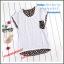 เสื้อยืดแฟชั่นเกาหลี สีพื้นตัดกับลายจุดด้านหลังของตัวเสื้อ กระเป๋าด้านหน้า thumbnail 8