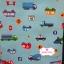 ผ้าคอตตอนญี่ปุ่น 100% 1/4ม.(50x55ซม.) พื้นสีฟ้า ลายรถ thumbnail 2