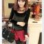 เสื้อแฟชั่นเกาหลีใหม่ ผ้ากำมะหยี่สีมันวาว ตกแต่งคอเสื้อด้วยเพชรสีสันสวยงาม thumbnail 9