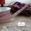 ริบบิ้นผ้าแถบสีชมพูอ่อน ลายผีเสื้อสีเทา กว้าง 1 ซ.ม. แบ่งขายเป็นหลา thumbnail 3