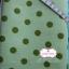 ผ้าคอตตอนลินิน 1/4ม.(50x55ซม.) พื้นสีเขียวอ่อน ลายจุดใหญ่สีเขียวเข้ม thumbnail 1