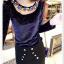 เสื้อแฟชั่นเกาหลีใหม่ ผ้ากำมะหยี่สีมันวาว ตกแต่งคอเสื้อด้วยเพชรสีสันสวยงาม thumbnail 12