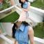 Tokyo pop splicing denim hundred เดรสสั้นมีปกผ้าชิฟฟ่อน เก๋ด้วยชายเสื้อผูกโบว์คาดเอว thumbnail 4
