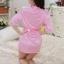 kkm027 ชุดนอน ชุดคลุม เสื้อคลุมสีชมพู ผ้านิ่มลื่น เนื้อผ้าดี พร้อมจีสตริง สวยคะ thumbnail 2