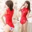 ch014ชุดกี่เพ้า ชุดคอสเพลย์ ชุดกี่เพ้าลูกไม้ สีแดง ผ้านิ่ม พร้อมจีสตริงคะ thumbnail 4