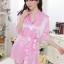 kkm027 ชุดนอน ชุดคลุม เสื้อคลุมสีชมพู ผ้านิ่มลื่น เนื้อผ้าดี พร้อมจีสตริง สวยคะ thumbnail 1