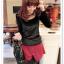 เสื้อแฟชั่นเกาหลีใหม่ ผ้ากำมะหยี่สีมันวาว ตกแต่งคอเสื้อด้วยเพชรสีสันสวยงาม thumbnail 8