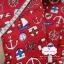 ผ้าคอตตอนลินิน 1/4ม.(50x55ซม.) พื้นสีแดง ลายสมอเรือ thumbnail 2