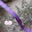 ริบบิ้นผ้า พื้นสีม่วง ลายดอกไม้สีชมพู กว้าง 1ซม. thumbnail 1