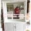 ตู้โชว์กระจกเงากรุหลังวินเทจสีขาวสำหรับร้านค้า thumbnail 1
