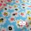 ผ้าคอตตอนไทย 100% 1/4 ม.(50x55ซม.) พื้นสีฟ้า ลายดอกไม้สีขาว thumbnail 2