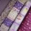 Set 5 ชิ้น : ผ้าคอตตอน 100% 4 ลาย และผ้าแคนวาสลายตารางโทนสีม่วง ชิ้นละ1/8 ม.(50x27.5ซม.) thumbnail 1