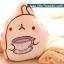 หมอนผ้าห่ม ลายกระต่าย Molang ถือแก้วชา สีครีม ## พร้อมส่งค่ะ ## thumbnail 1