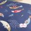 ผ้าคอตตอนญี่ปุ่น 100% 1/4ม.(50x55ซม.) พื้นสีน้ำเงิน ลายปลาคาร์ฟ thumbnail 2