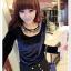 เสื้อแฟชั่นเกาหลีใหม่ ผ้ากำมะหยี่สีมันวาว ตกแต่งคอเสื้อด้วยเพชรสีสันสวยงาม thumbnail 1