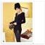 เสื้อแฟชั่นเกาหลีแขนยาวสไตล์ย้อนยุค ตกแต่งคอเสื้อและชายเสื้อด้วยด้ายสีทอง thumbnail 5