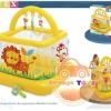 บ่อกระโดดสิงโต สีเหลือง Children's inflatable arena kadratny Intex Soft-Sides Lil 'Baby Gym 48473NP