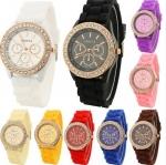 นาฬิกาแฟชั่น ดีไซน์สวย ล้อมเพชร พื้นหน้าปัด3วงเล็ก (นาฬิกา ยี่ห้อGeneva และ ยี่ห้อ XINSLON)