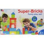 บล๊อกตัวต่อ พลาสติกขนาดใหญ่ แบบกล่อง 17ชิ้น คละรูปทรง Super-Bricks Funny Play Set 17pcs