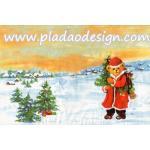 กระดาษสาพิมพ์ลาย สำหรับทำงาน เดคูพาจ Decoupage แนวภาพ หมี Teddy หมีแซนต้าครอส แบกของขวัญ บนทุ่งหิมะ ภาพโทนครีสส้ม A5