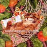 กระดาษสาพิมพ์ลาย สำหรับทำงาน เดคูพาจ Decoupage แนวภาพ แมวขนทองนอนหลับตาพริ้มบนเปลเชือกถัก น่ารักมาก A5