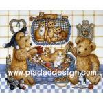 0002 กระดาษอาร์ทพิมพ์ลาย สำหรับทำงาน เดคูพาจ Decoupage แนวภาพ หมี เท็ดดี้ Teddy bear กับตะกร้าแมว A5