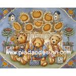 0008 กระดาษอาร์ทพิมพ์ลาย สำหรับทำงาน เดคูพาจ Decoupage แนวภาพ หมี เท็ดดี้ แบร์ Teddy bear ทุ่งดอกทานตะวัน (pladao design) A5