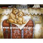 0005 กระดาษอาร์ทพิมพ์ลาย สำหรับทำงาน เดคูพาจ Decoupage แนวภาพ Teddy bear หมี เท็ดดี้ แบร์ นั่งบนกล่องใส่ของ ปลาดาว ดีไซน์ A5