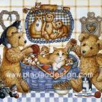 0002 กระดาษสาพิมพ์ลาย สำหรับทำงาน เดคูพาจ Decoupage แนวภาพ หมี Teddy กับตะกร้าแมว A5