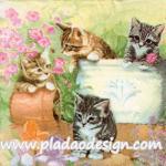 กระดาษสาพิมพ์ลาย สำหรับทำงาน เดคูพาจ Decoupage แนวภาพ สัตว์ ภาพวาดน้องแมว 4 ตัว เล่นกันในสวนดอกไม้ A5