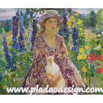 กระดาษสาพิมพ์ลาย สำหรับทำงาน เดคูพาจ Decoupage แนวภาำพ ภาพวาด สาวหน้าสวยใส่ชุดกับหมวกเข้าเซ็ตกัน อุ้มแมวนั่งเล่นในสวนดอกไม้ A5