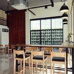 เก้าอี้บาร์ สีไลท์บีช ดีไซน์สวย สไตล์ญี่ปุ่น สำหรับร้านกาแฟ ร้านเบเกอรี่